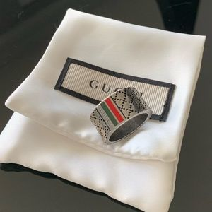Gucci | Men's Sterling Silver Diamond Pattern Ring